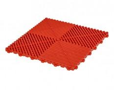 Open kliktegel rood 400 x 400 x 18 mm. - harde kunststof tegel met open structuur