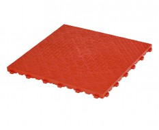 Kunststof kliktegel rood 400 x 400 x 18 mm. - harde kunststof tegel met traanplaatprofiel