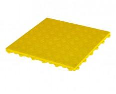 Kunststof kliktegel geel 400 x 400 x 18 mm. - harde kunststof tegel met traanplaatprofiel