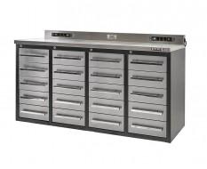 Professionele werkbank – montagetafel 180 x 65 x 90 cm. met 20 laden met RVS front