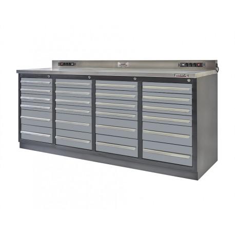 Professionele werkbank – montagetafel 215 x 70 x 95 cm. met 24 laden
