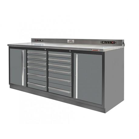Professionele werkbank – montagetafel 215 x 70 x 95 cm. met 12 laden en 2 gereedschapskasten