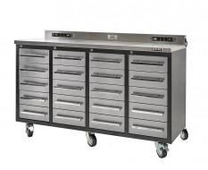Professionele verrijdbare werkbank – montagetafel 180 x 65 x 106 cm. met 20 laden met RVS front