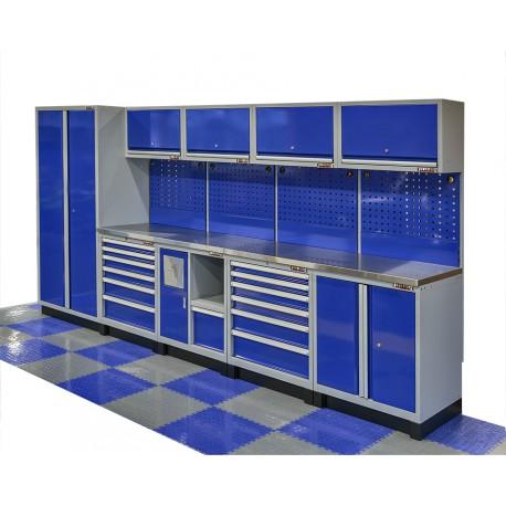 Complete werkplaatsinrichting blauw, werkbank houten blad, gereedschapskast, gereedschapsbord, 12 laden, 379,5 x 200 cm