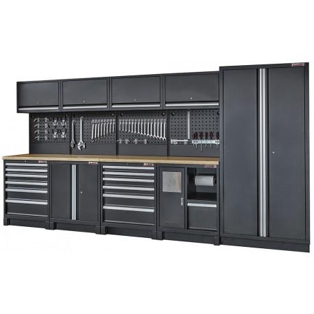 Complete werkplaatsinrichting mat zwart, werkbank + multiplex blad, gereedschapskast, gereedschapsbord, 12 laden, 379,5 x 200 cm