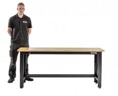 Extra lage werkbank zwart 183 x 61 x 81 cm. in hoogte verstelbaar van 81 tot 111 cm. met hardhouten blad