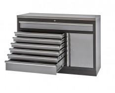 Werkplaatskast / werkbank met 7 laden + draaideurkast met metaal omkleed werkblad - 136 x 46 x 94,8 cm