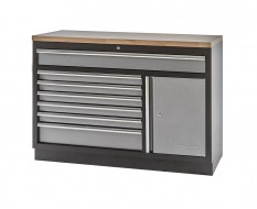 Werkplaatskast / werkbank met 7 laden + draaideurkast met hardhouten werkblad - 136 x 46 x 94,8 cm