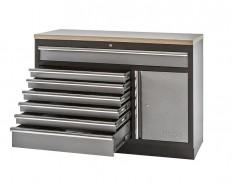 Werkplaatskast / werkbank met 7 laden + draaideurkast met multiplex werkblad- 136 x 46 x 94,8 cm