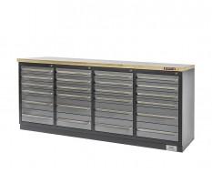 Professionele werkbank – montagetafel 215 x 70 x 95 cm. met 24 laden en hardhouten werkblad