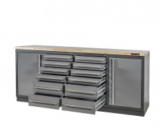 Professionele werkbank – montagetafel 215 x 70 x 95 cm. met 12 laden, 2 gereedschapskasten en hardhouten werkblad