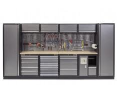 Complete Werkplaatsinrichting, werkbank multiplex blad, gereedschapskast, gereedschapsbord, 4 x hangkast,19 laden - 392 x 200 cm