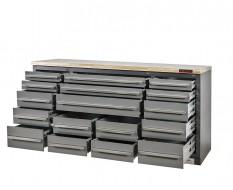 Professionele werkbank – montagetafel 183 x 70 x 95 cm. met 17 laden en hardhouten werkblad