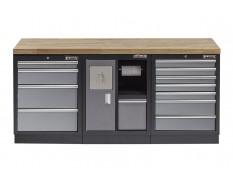 Werkbank set met hardhouten blad, afvalbakkast en 12 laden - 204 x 46 x 94,6 cm