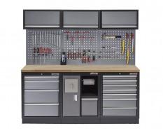 Werkbank set met gereedschapswand, werkplaatsinrichting, gereedschapsbord, 3 x hangkast en 12 laden - 204 x 46 x 200 cm