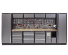 Complete Werkplaatsinrichting, werkbank houten blad, gereedschapskast, gereedschapsbord, 4 x hangkast,19 laden, 392 x 200 cm.