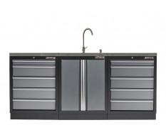 Werkbank set met MDF werkblad met RVS plaat omkleed - 10 laden - 204 x 46 x 94,6 cm. Werkbank met laden - ladenblok