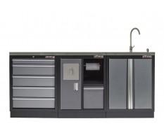 Werkbank set met MDF werkblad met RVS plaat omkleed - 6 laden - 204 x 46 x 94,6 cm. Werkbank met laden - ladenblok