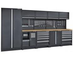 Complete werkplaatsinrichting mat zwart, werkbank + hardhouten blad, gereedschapskast, 12 laden, 379,5 x 200 cm