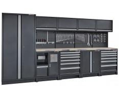 Complete werkplaatsinrichting mat zwart, werkbank + RVS blad, gereedschapskast, 12 laden, 379,5 x 200 cm