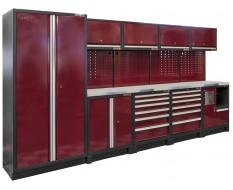 Complete werkplaatsinrichting, werkbank RVS blad, gereedschapskast, gereedschapsborden, 4 x hangkast,12 laden, 379,5 x 200 cm