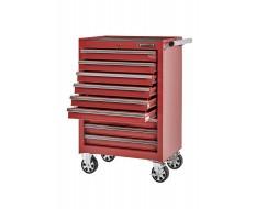 Gereedschapswagen rood met 6 gevulde laden - soft mat