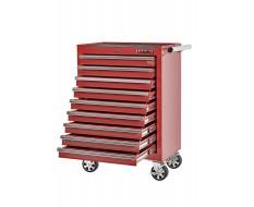 Gereedschapswagen rood, 9 laden gevuld met gereedschap in foam inleg