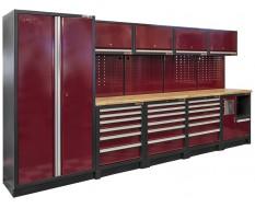 Complete werkplaatsinrichting, werkbank houten blad, gereedschapskast, gereedschapsbord, 4 x hangkast,12 laden, 379,5 x 200 cm