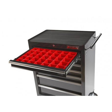 Lade gevuld met rode kunststof bakken type 1