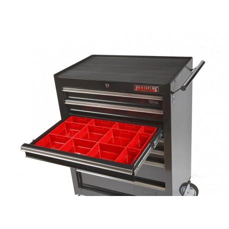 Lade gevuld met rode kunststof bakken type 3