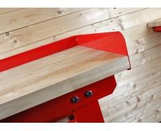 Opzetrand rood 150 cm voor werkbank