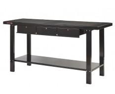 Werkbank staal 200 cm met 3 laden - zwart