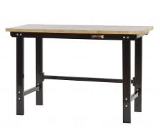 Werkbank zwart 150 cm met hardhouten blad - open model
