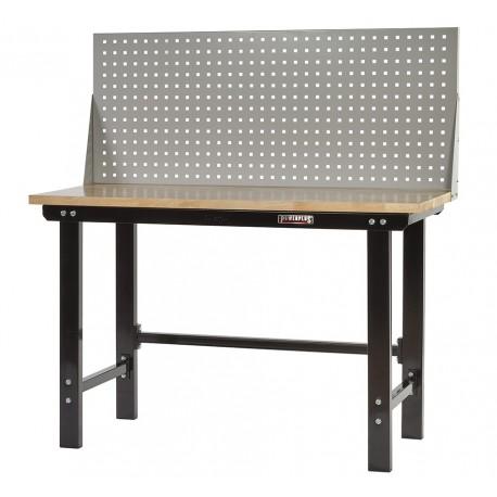 Werkbank zwart 150 cm met hardhouten blad en gereedschapsbord