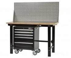 Werkbank zwart 150 cm met hardhouten blad + gereedschapswagen en gereedschapsbord