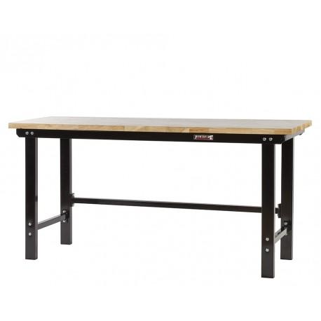 Werkbank zwart 200 cm met hardhouten blad open model