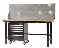 Werkbank zwart 200 cm met hardhouten blad + gereedschapswagen en gereedschapsbord
