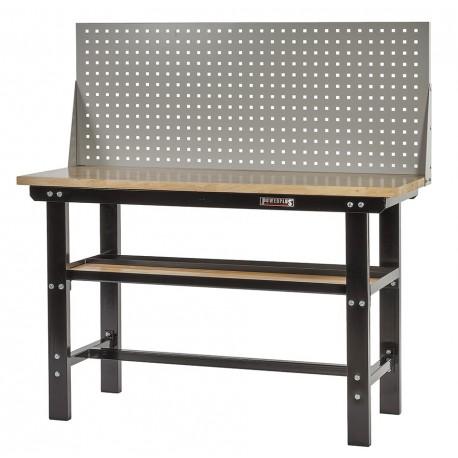 Werkbank zwart 150 cm met hardhouten blad + gereedschapsbord