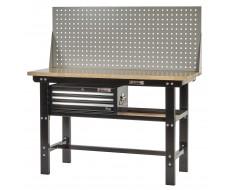 Werkbank zwart 150 cm met hardhouten blad + gereedschapskist en gereedschapsbord