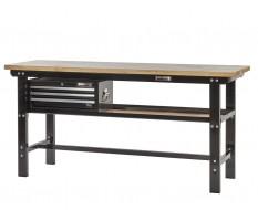 Werkbank zwart 200 cm met hardhouten blad en gereedschapskist