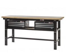 Werkbank zwart 200 cm met hardhouten blad en 2 gereedschapskisten