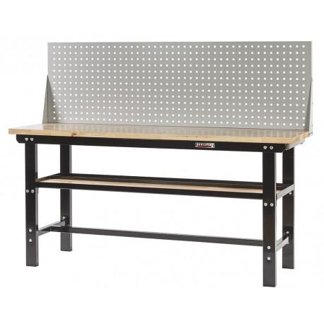 Werkbank zwart 200 cm met hardhouten blad en gereedschapsbord