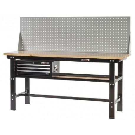 Werkbank zwart 200 cm met hardhouten blad + gereedschapskist en gereedschapsbord