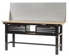 Werkbank zwart 200 cm met hardhouten blad + 2 gereedschapskisten en gereedschapsbord
