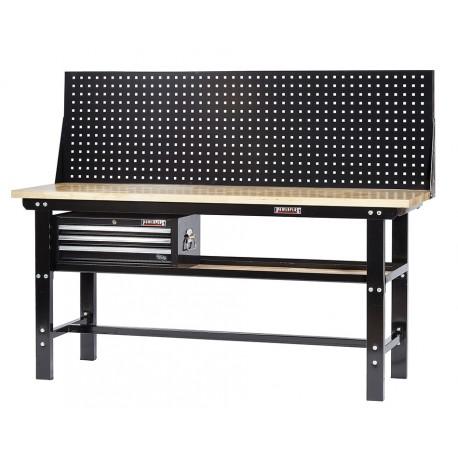 Werkbank zwart 200 cm met hardhouten blad + gereedschapskist en zwart gereedschapsbord