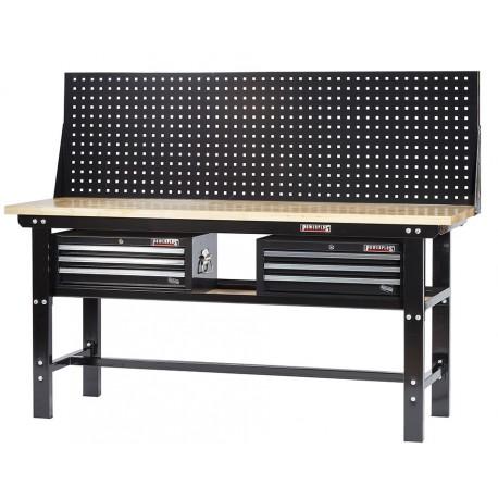 Werkbank zwart 200 cm met hardhouten blad + 2 gereedschapskisten en zwart gereedschapsbord