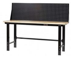 Werkbank zwart 200 cm met hardhouten blad en zwart gereedschapsbord