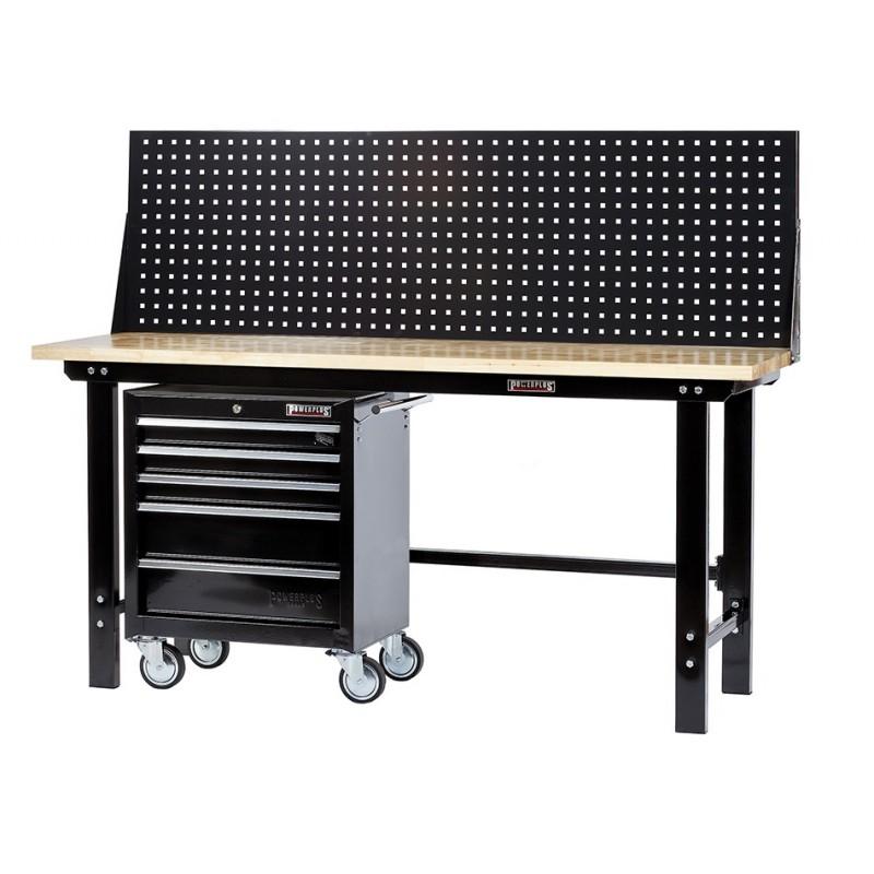 Werkbank zwart 200 cm met hardhouten blad + gereedschapswagen en zwart gereedschapsbord