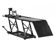 Heftafel met inrijklem voor motor - heftafel motorfiets - heftafel hydraulisch - zwart - motorheftafel.