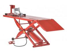 Motorheftafel pneumatisch met inrijklem - Heftafel motor - heftafel motorfiets in de kleur rood